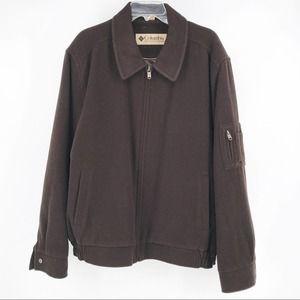 Colombia Men's Brown Wool Blend Zip Down Jacket